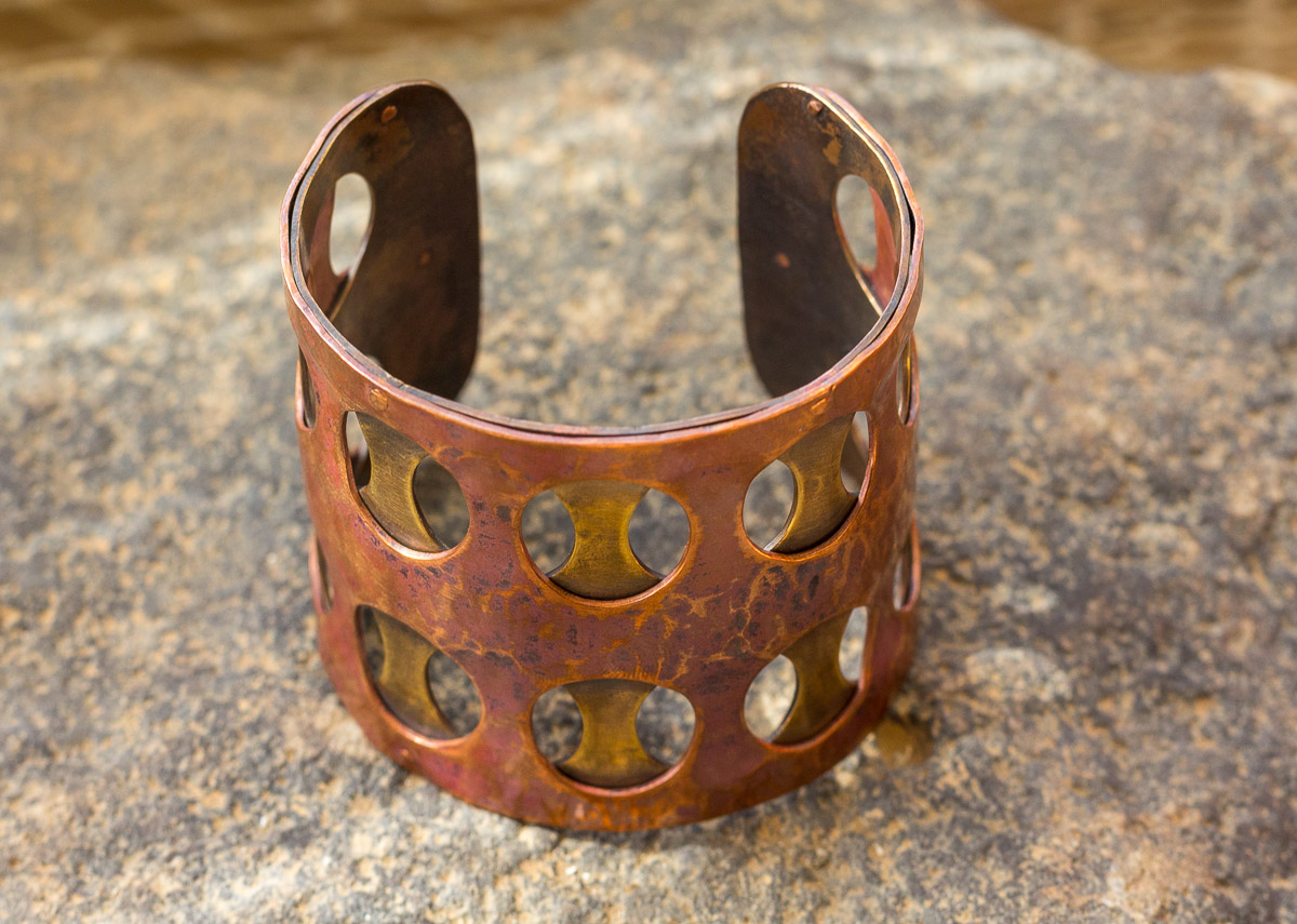 One of her best-sellers, this metal double-layered bracelet is a must have. Designed and made by Anabelle Colon from Anabelle Colon Jewelry.