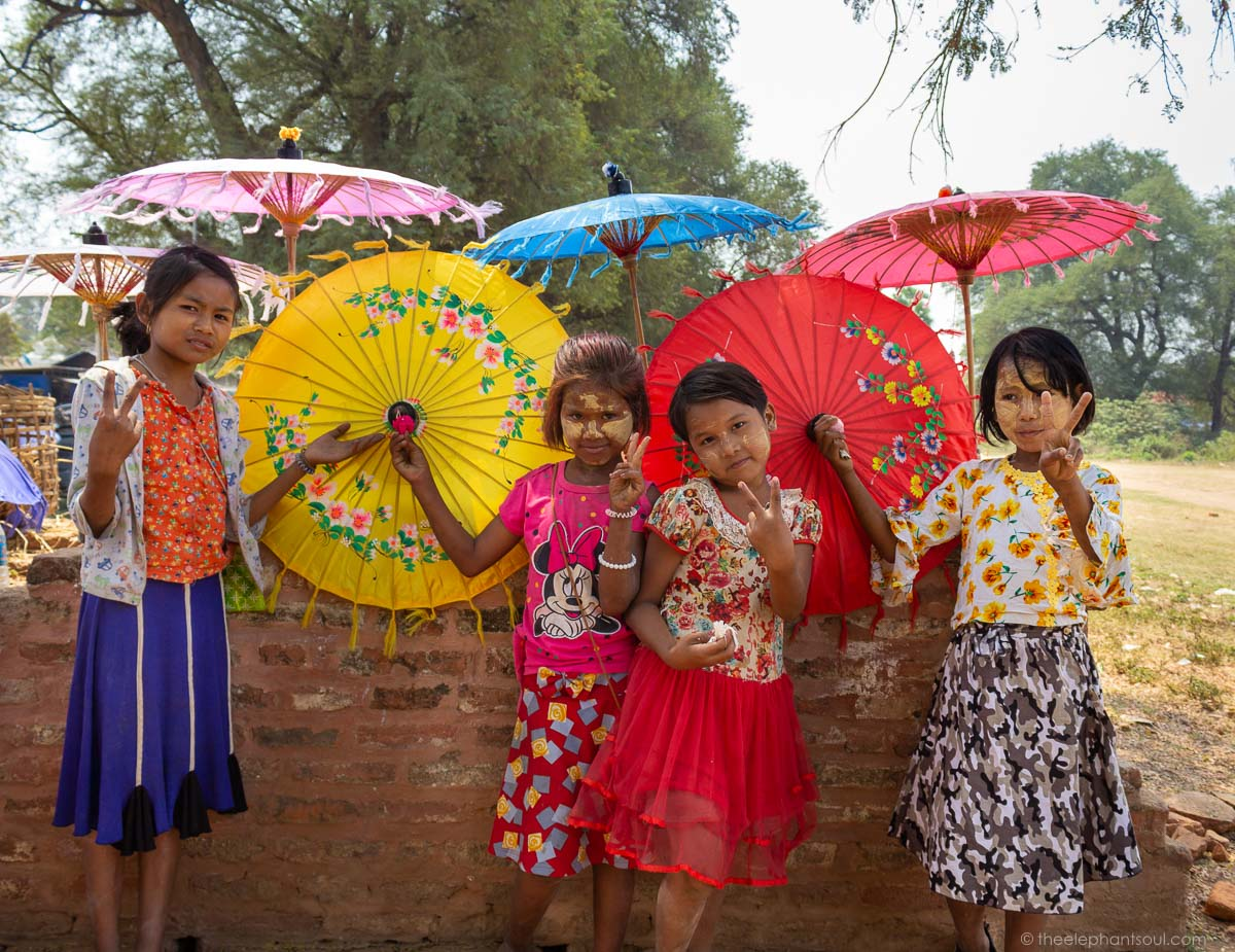 These Burmese girls were hoping to get a group photo taken when we visited Bagan. Eagerly they looked at my camera and seemed to like the end result. © Diana, The Elephant Soul
