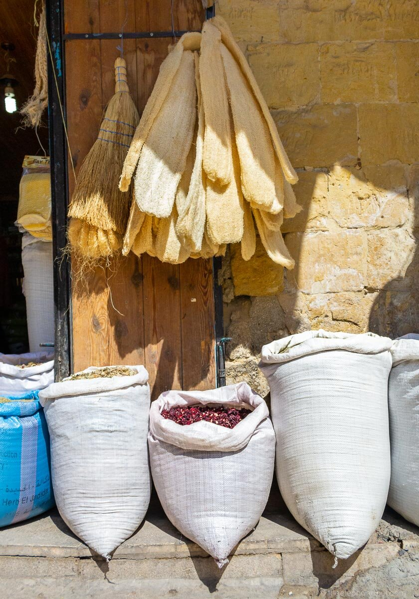 Sacks of grains and herbs from As- Salt, Jordan. Photo taken during a recent photo walk. Image © Diana - The Elephant Soul