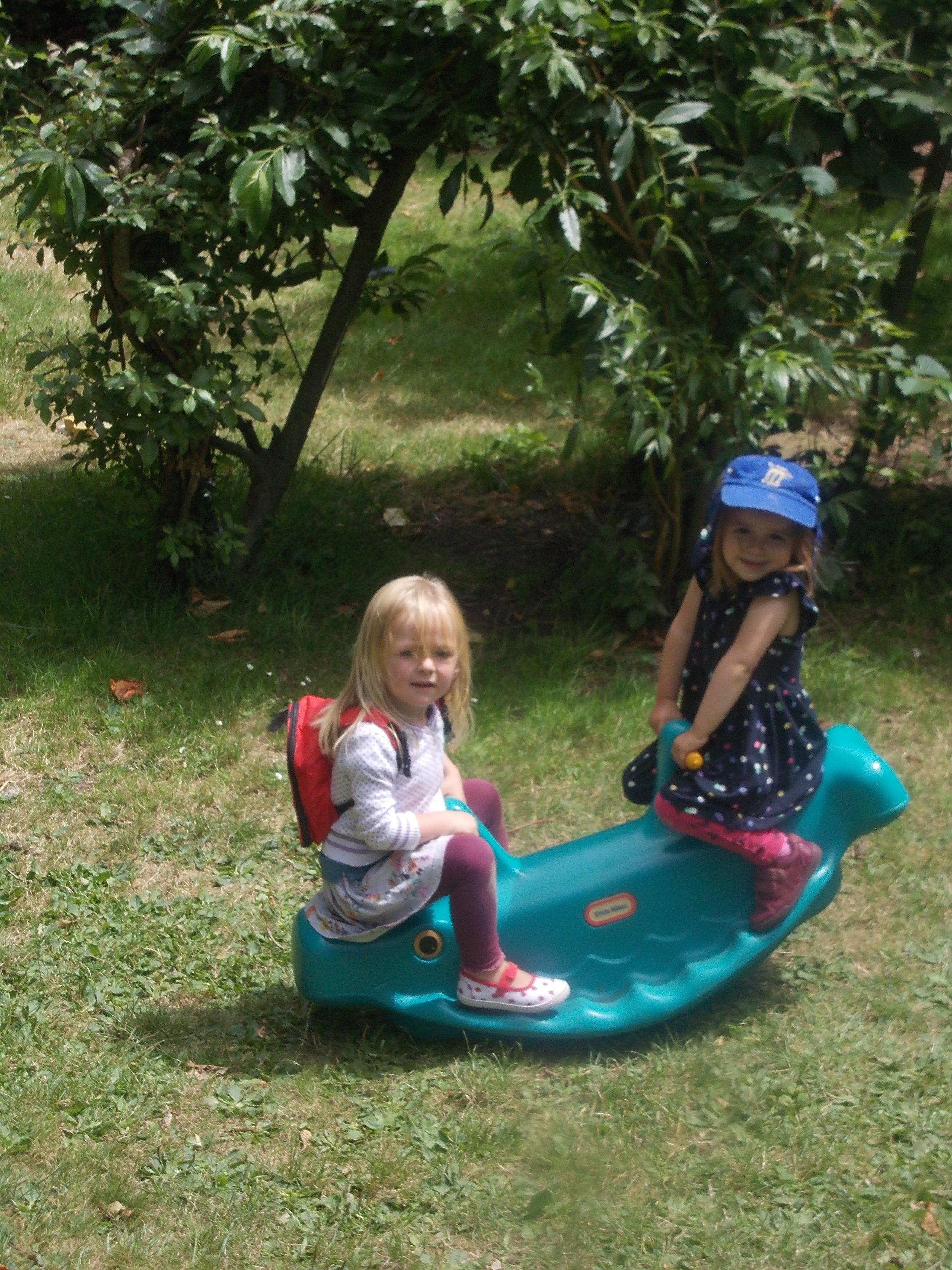 Romy and Lottie see saw big garden.JPG