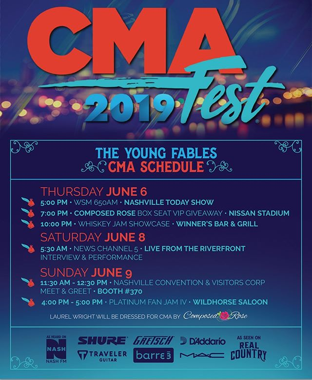 #CMAFEST2019 is here & we are EXCITED! We've listed all of our appearances above☝🏻 Let's hang out, Nashville 💫 A huge thank you to our management, PR team and all of our sponsors for making our life and this week seem so easy 🙌🏻