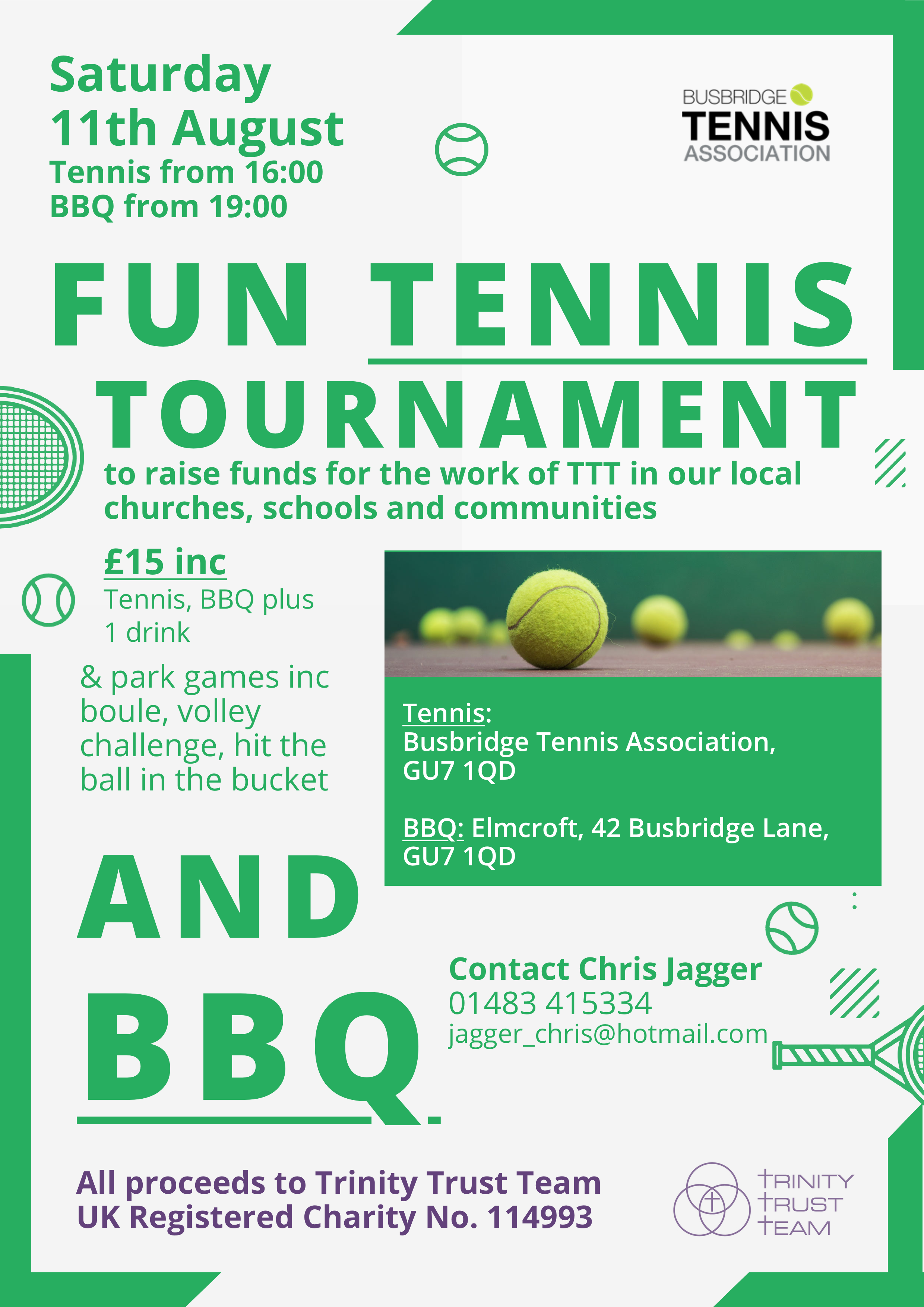 Trinity Trust Team Tennis and BBQ Fundraiser