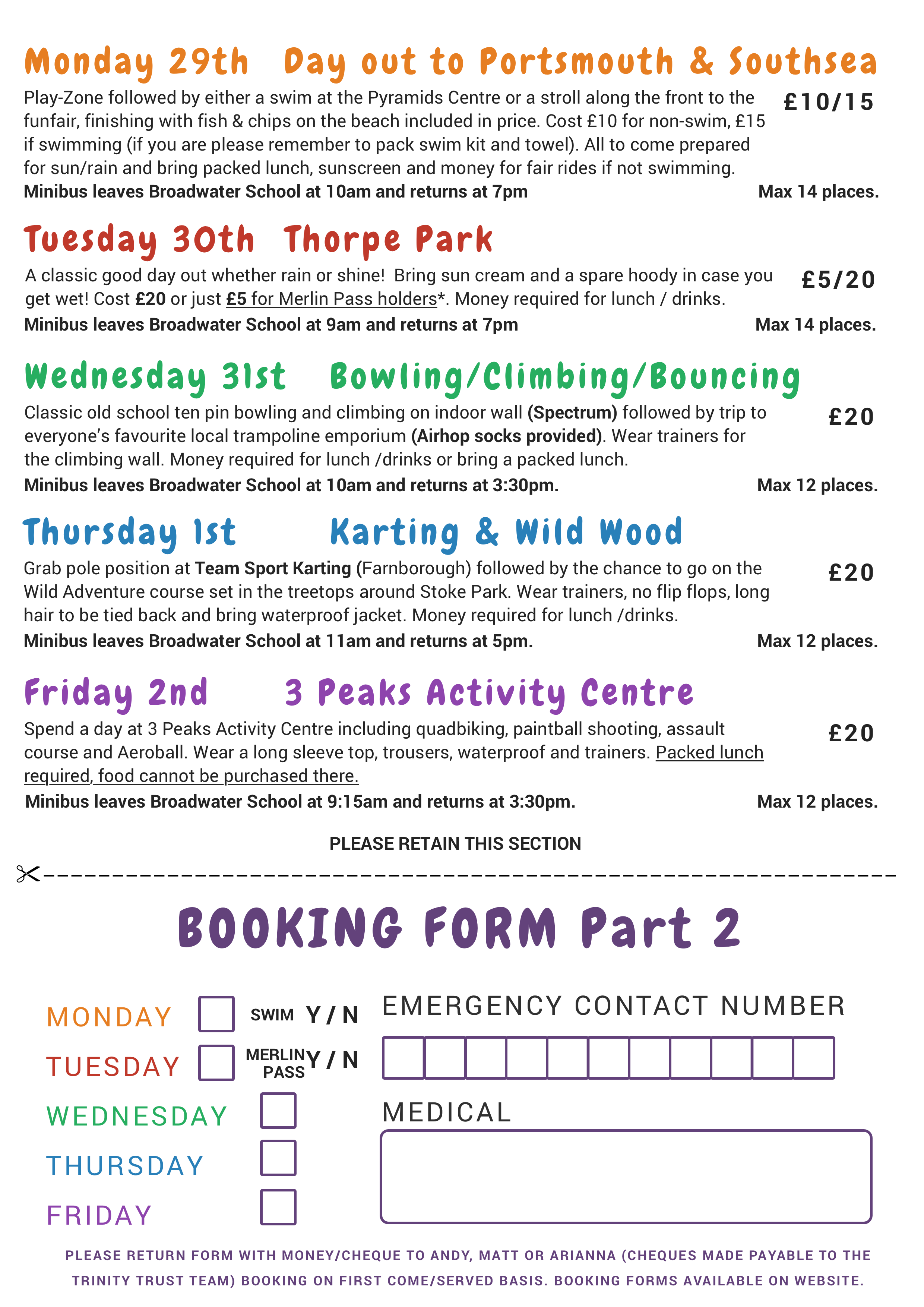 Trinity Trust Team Summer Activities Week 2019 Back