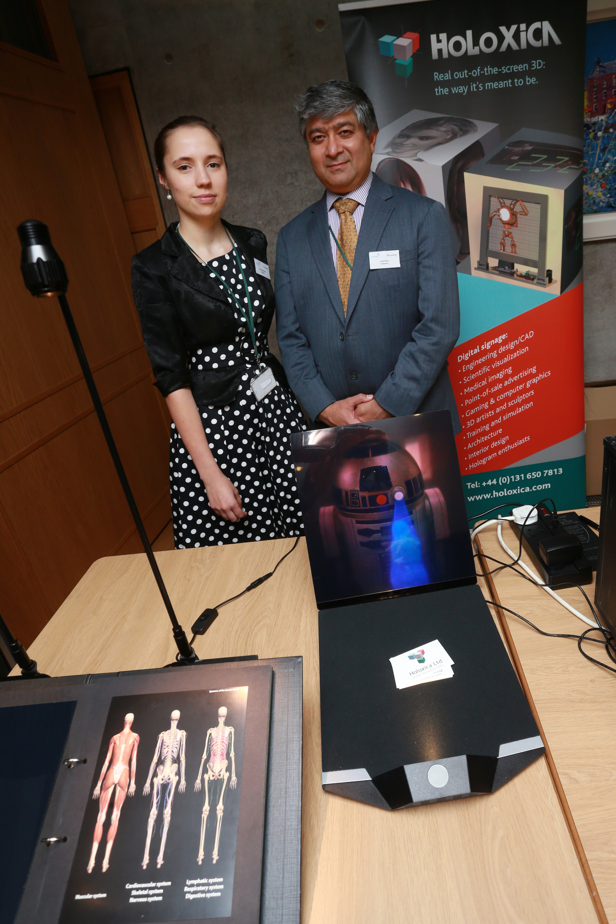 Anna and Javid from Holoxica, showing their digital holograms.Photo courtesy of Technology Scotland.