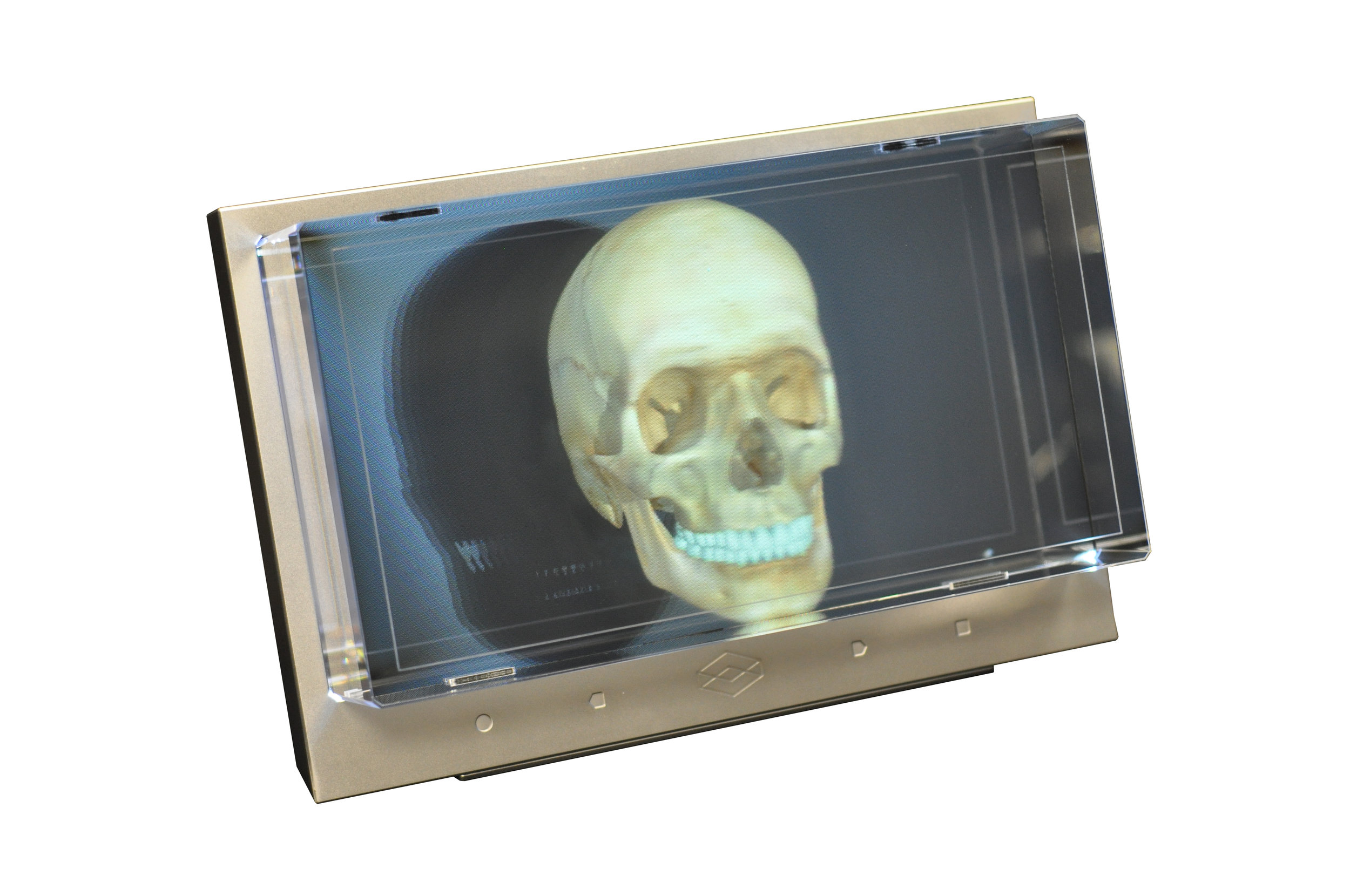 Actual photo of the display showing a 3D model