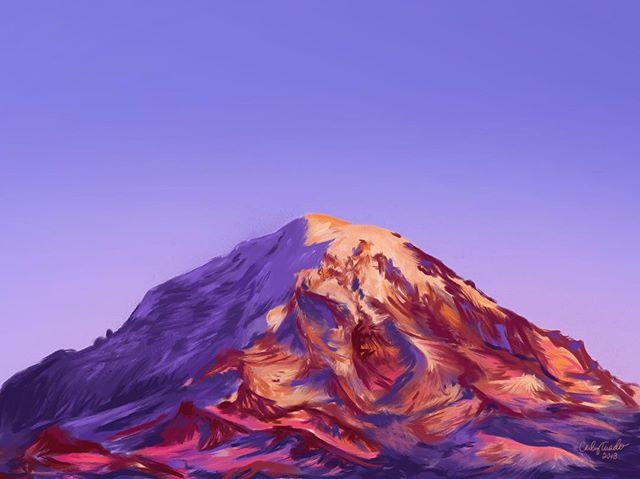 My first real iPad procreate painting...my beloved, Mount Rainier.  #procreate #ipadart #mountains #sunset #ipadpainting #applepencil #procreateart #painting #mountainpainting #natureart #originalart