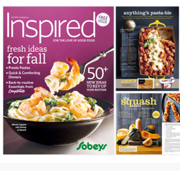 How do you win the hearts of foodies? By showing them delicious meals and recipes of course!  To help Canadians make the most of their grocery basket, Sobeys worked with the team at Totem Brand Stories to bring this drool-worthy magazine to life. The focus of Inspired magazine was to give Sobeys shoppers more info about the foods they enjoyed, provide tips for eating and living better, and to introduce new foods and recipes they hadn't yet discovered.  As part of the Accounts team working on this magazine, I was the Microsoft Project whiz who created the work back schedules, manager of product information and sourcing, and regionalization expert. Not only did I work to keep us on our deadlines, I also coordinated between the writers, chefs, suppliers, and food photographers to make sure everyone had what they needed. I was also hands-on at the proofing phase to make sure all product and regional information (such as pricing) was accurate, and was in daily direct communication with the Sobeys marketing team.  The hardest part of this job was tracking nearly a hundred product skus seasonally. The easiest part was attending tastings and trying delicious new recipes and products.