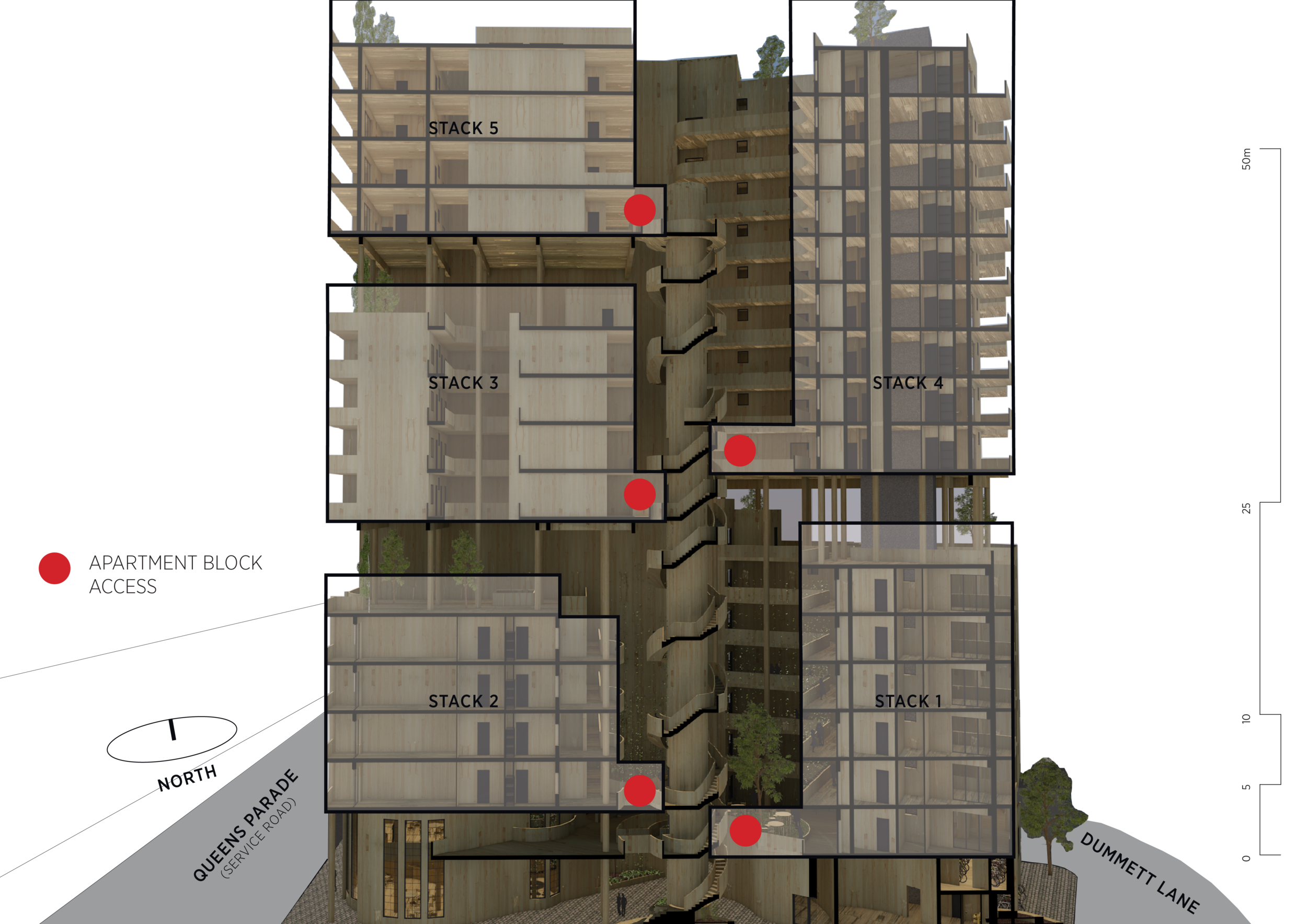 A section through Nightingale Stacks shows how the circulation works to each apartment stack.
