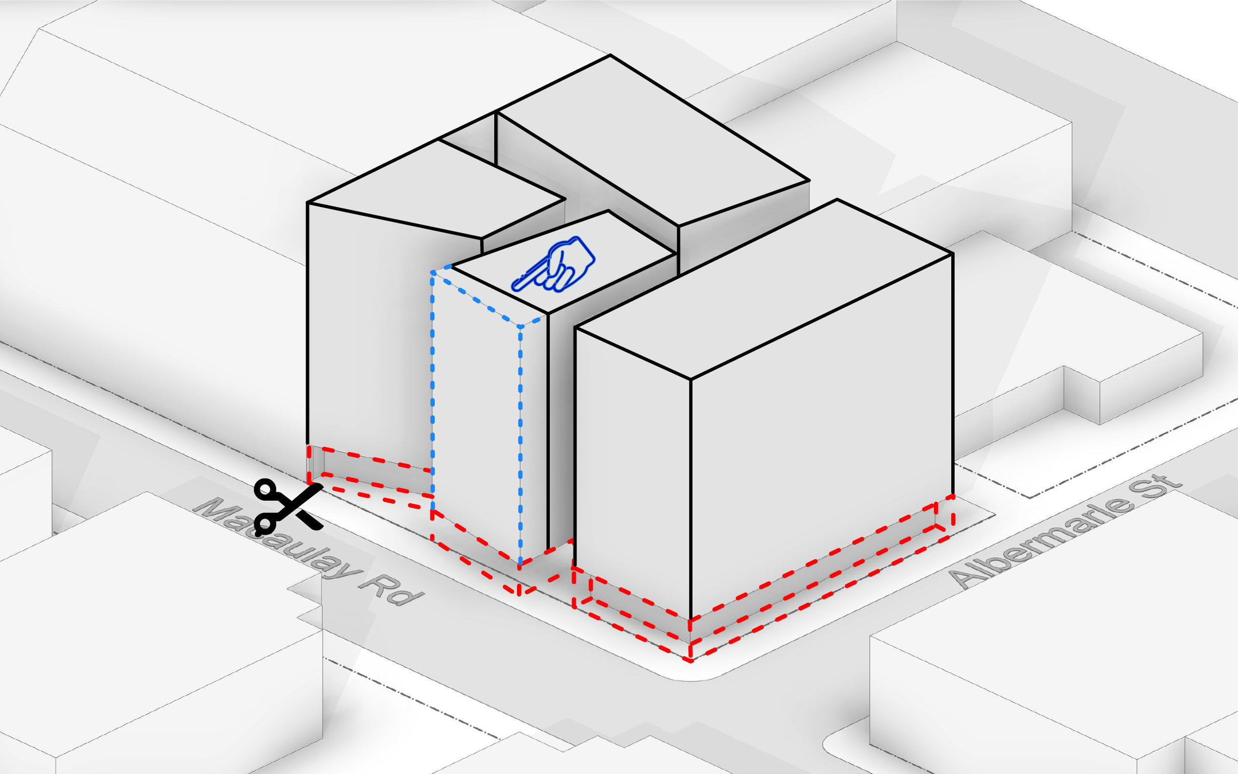Extend Spine Block onto street interface