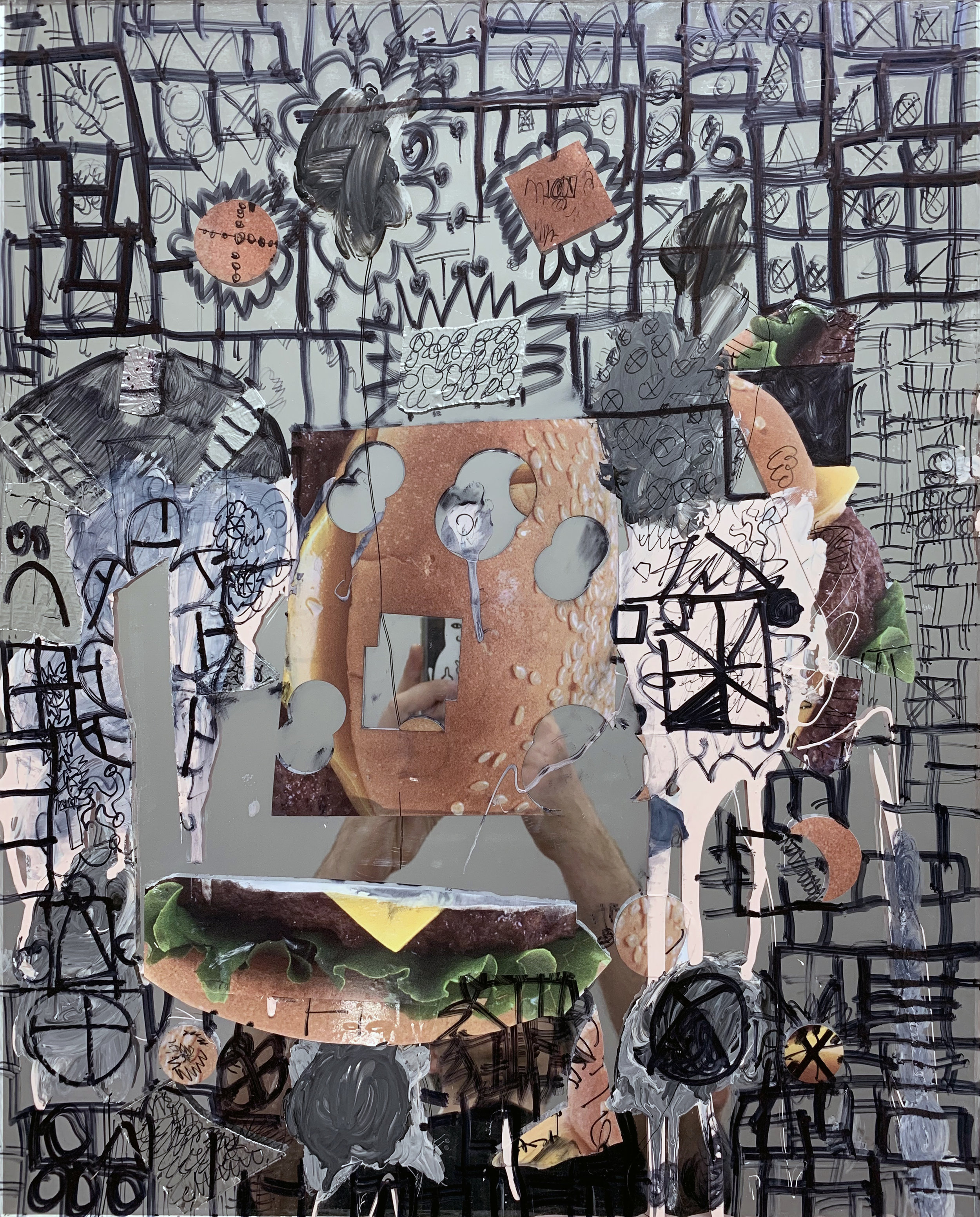 Painting, collage, and drawing on mirror  2019