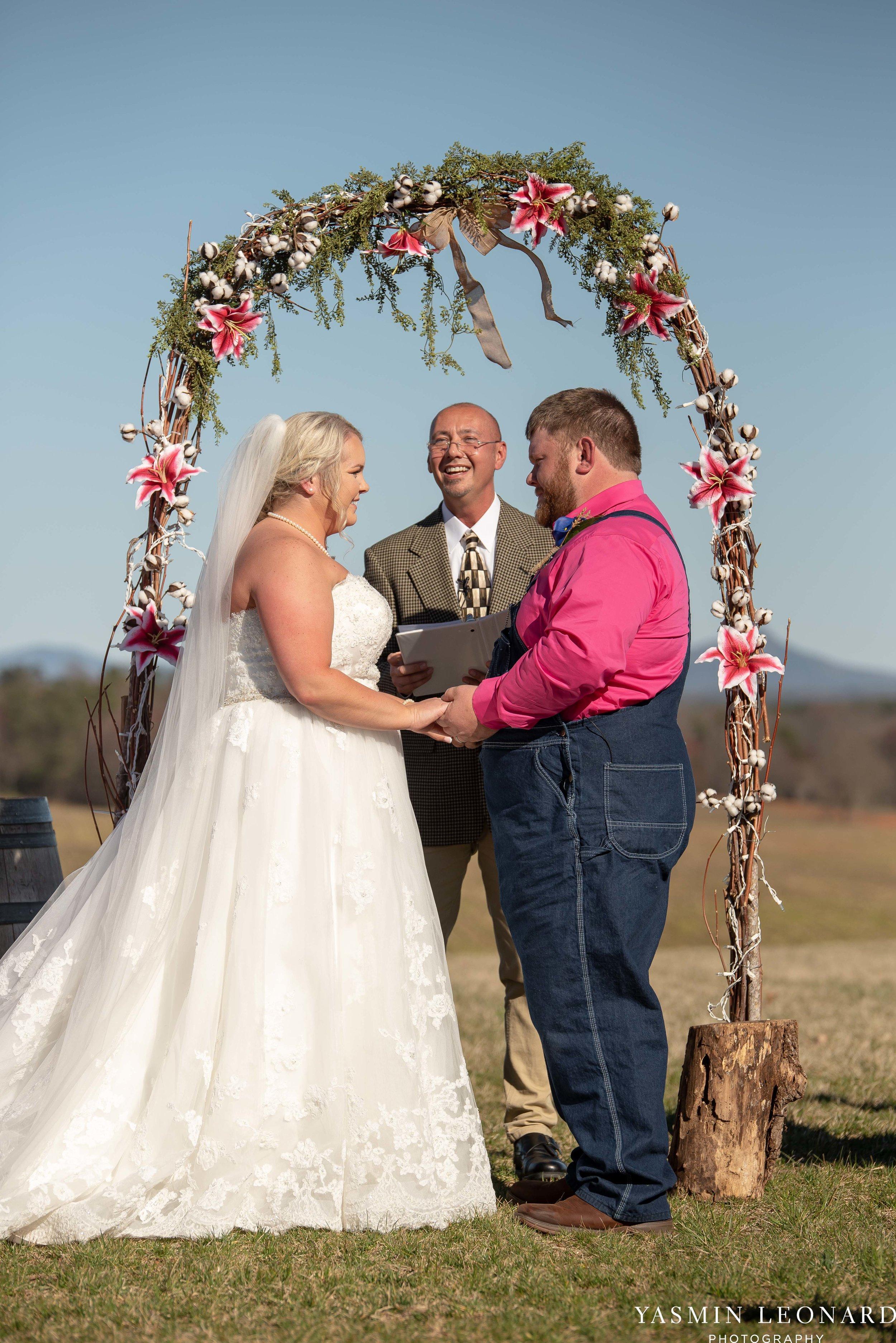 The Barn at Heritage Farm - Country Wedding - Pink and Blue Wedding - Barn Wedding - Outdoor Wedding - Cotton and Wheat Decor - Groom in Bibs - Pink Bridal Colors - Yasmin Leonard Photography-14.jpg
