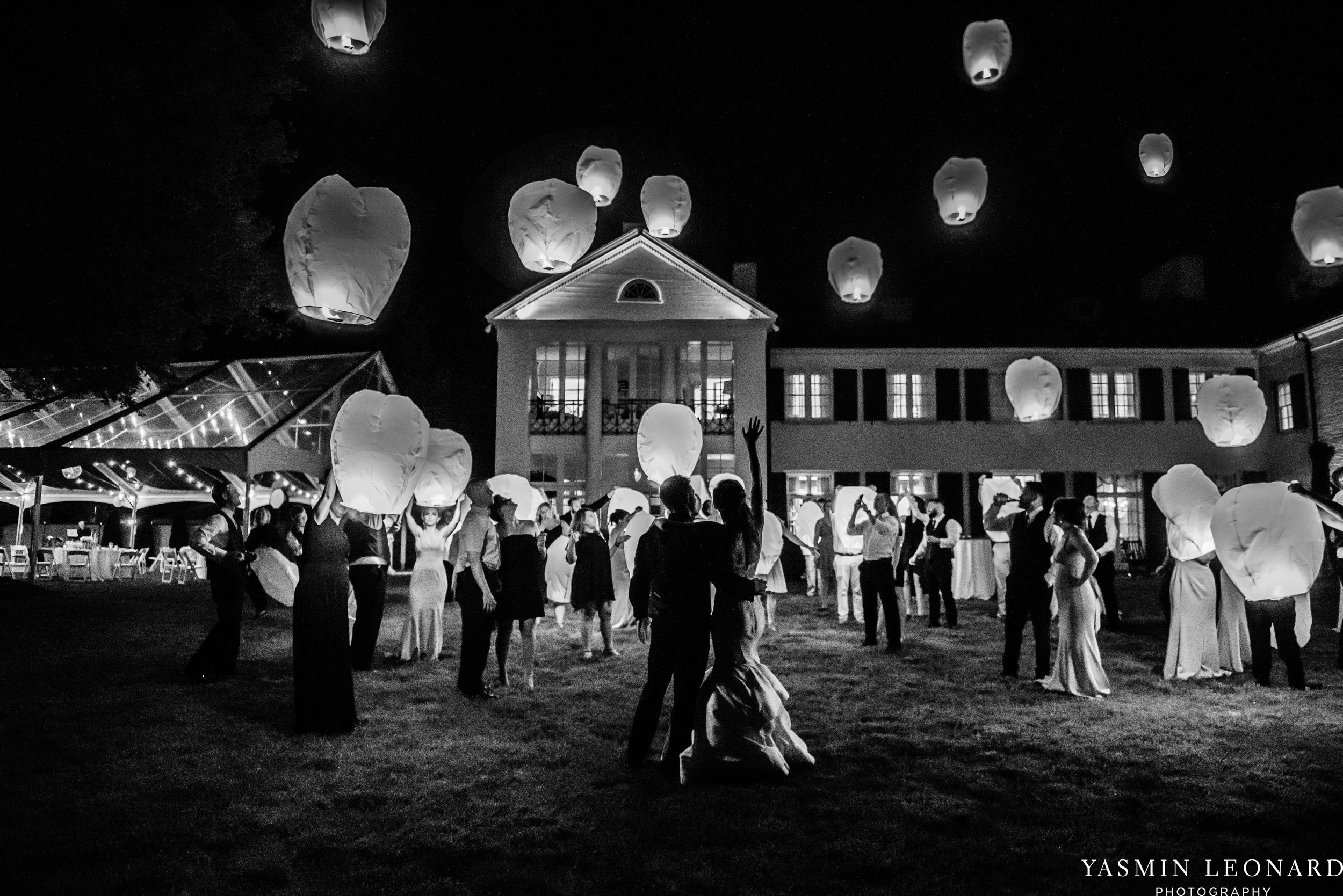 Boxwood Estate - Boxwood Estate Wedding - Luxury Wedding - Black and White Wedding - NC Wedding Venues - NC Weddings - NC Photographer - Lantern Release Grand Exit - Large Wedding Party - Yasmin Leonard Photography-94.jpg