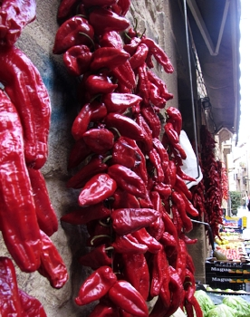 The wares of the abundance in the region are displayed in the streets of Laguardia