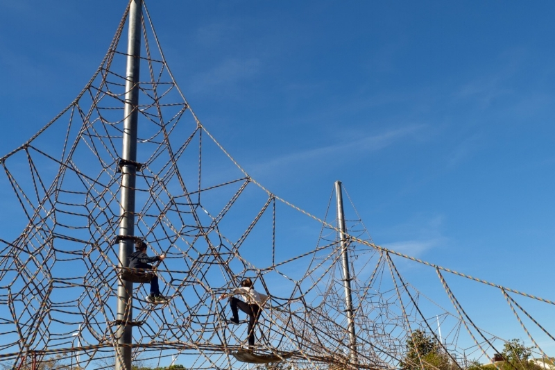 All ages will want to clamber up the spiderwebs at Juan Carlos I Park
