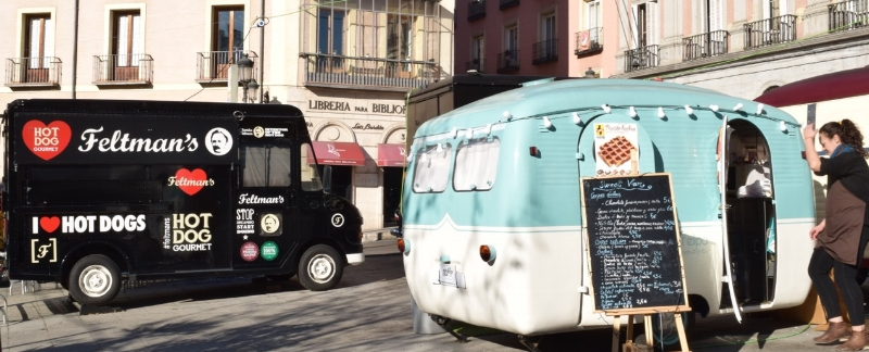 Food trucks are a new  phenomenon  in Madrid.