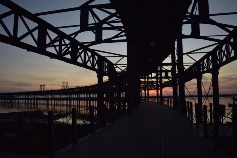 The beautiful Eiffel pier is now a pedestrian bridge in the port of Huelva.