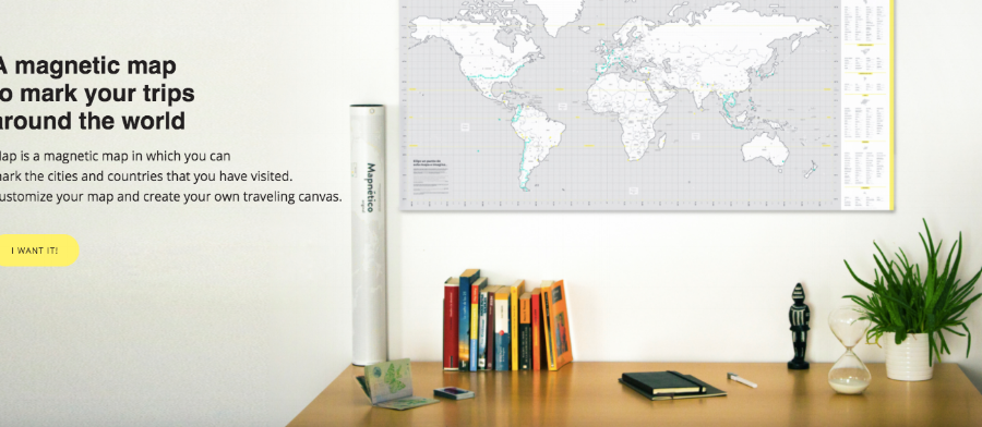 A unique mapping system that allows you to post your travels with magnetic pins