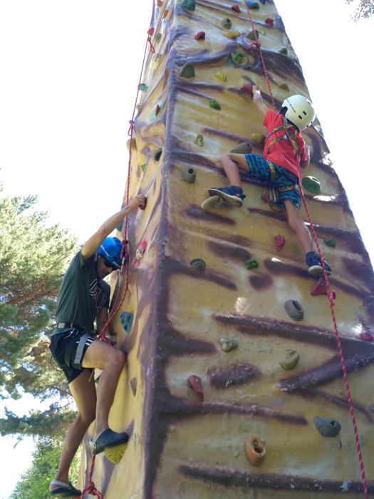 The climbing wall at La Casona.