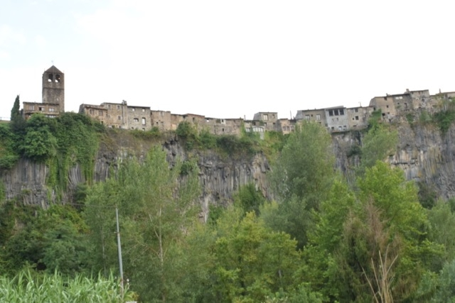 One of the most interesting views of Castellfollit is from below the cliff that it is perched on.