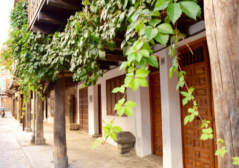 Most of the wooden structures in Cuevas del Valle—the balconies, the pillers shown here, shutters and doors are all made from chestnut wood