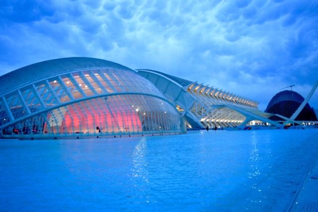The futuristic Avante-Garde architecture of Valencia's Art and Science city.
