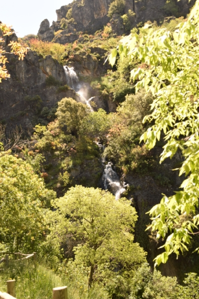 The hike along the Monachil River is through lush folliage with waterfalls and hanging bridges.