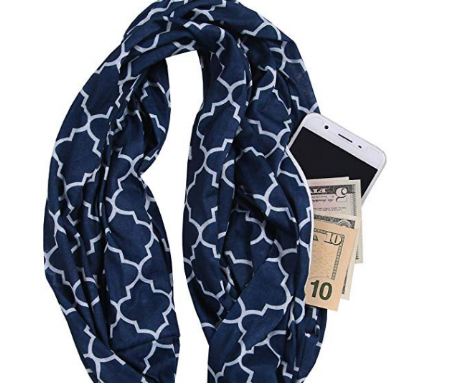 Keep your cash close to you by hiding it in a zipper pocket in a scarf.