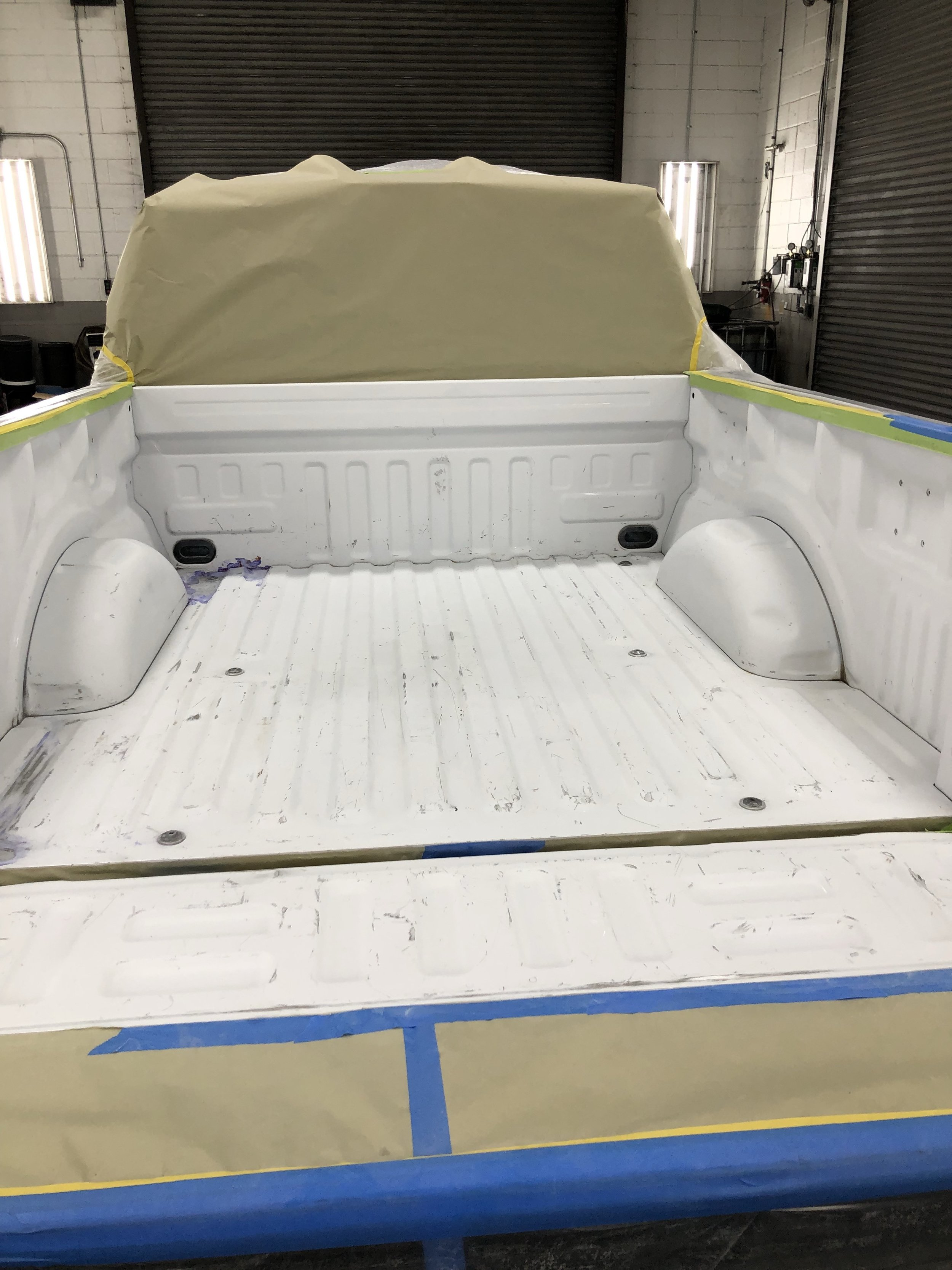 Scuffed - Bed has been scuffed and wiped down, ready to spray.