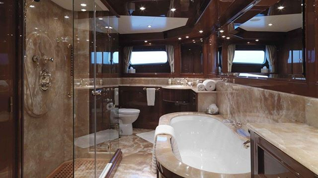 Ultimate luxurious Master head done in honey onyx on board  M/Y Enchantress aka M/Y Distraction after her refit @karenlynn_yachtinteriordesign  #yachtbroker #yachtcharter #yachting #yachts #megayacht #charteryacht #yachtinteriors #yachtdesigner #yachtlife #yachtmakeover #yachtstylist #benettiyachts
