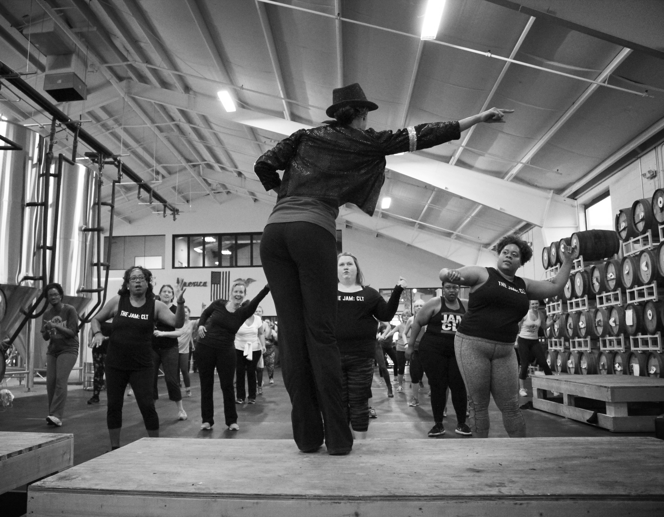 """Instructor Simone, in full King of Pop regalia, teaches the class a dance to """"Workin' Day And Night"""" by Michael Jackson."""