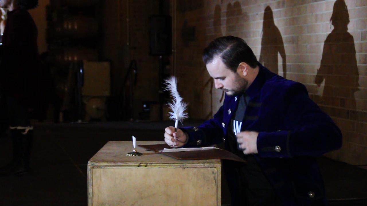 Shaun Fuller as Alexander Hamilton in Jamilton, Nov. 2017.