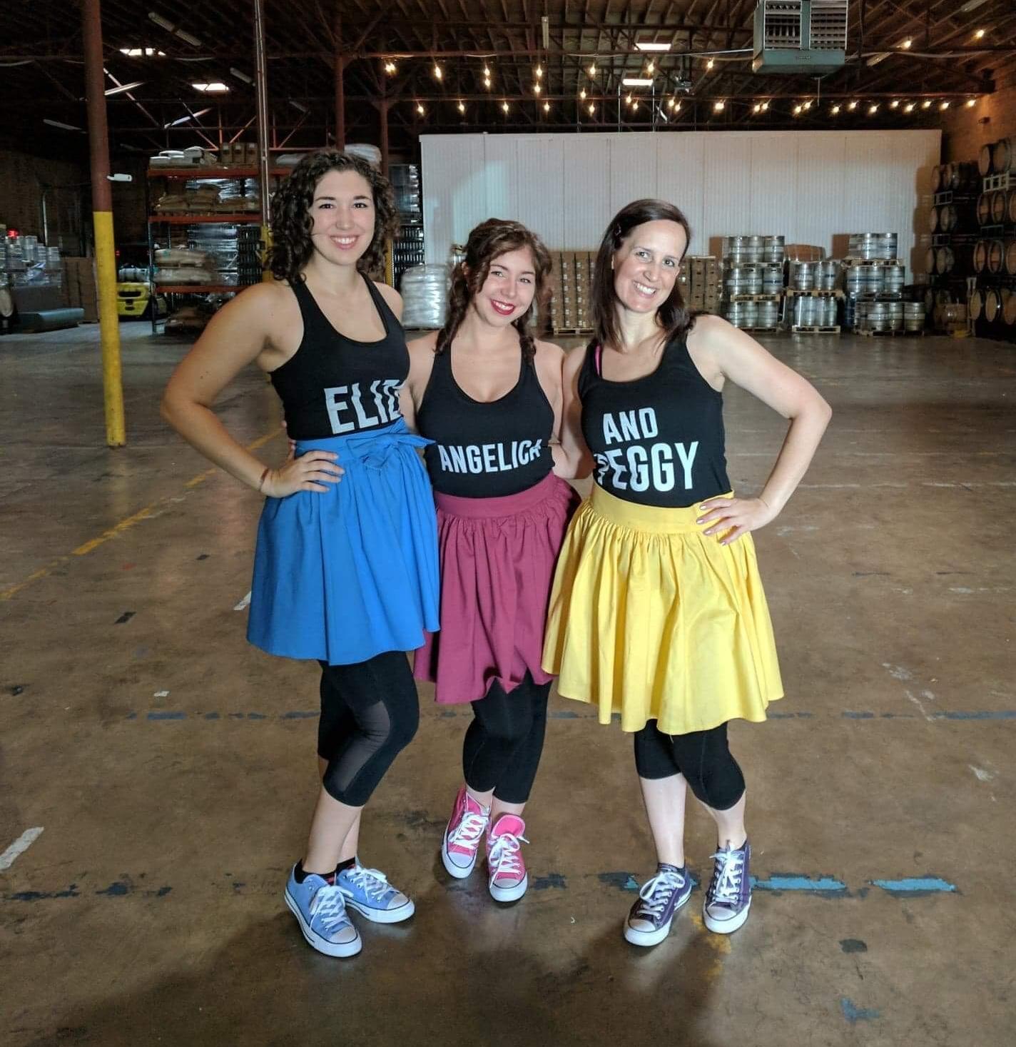 Kelsey Fuller (Eliza), Paige Reinhard (Angelica) & D'Arcy Astridge (Peggy) in Jamilton, Nov. 2017.