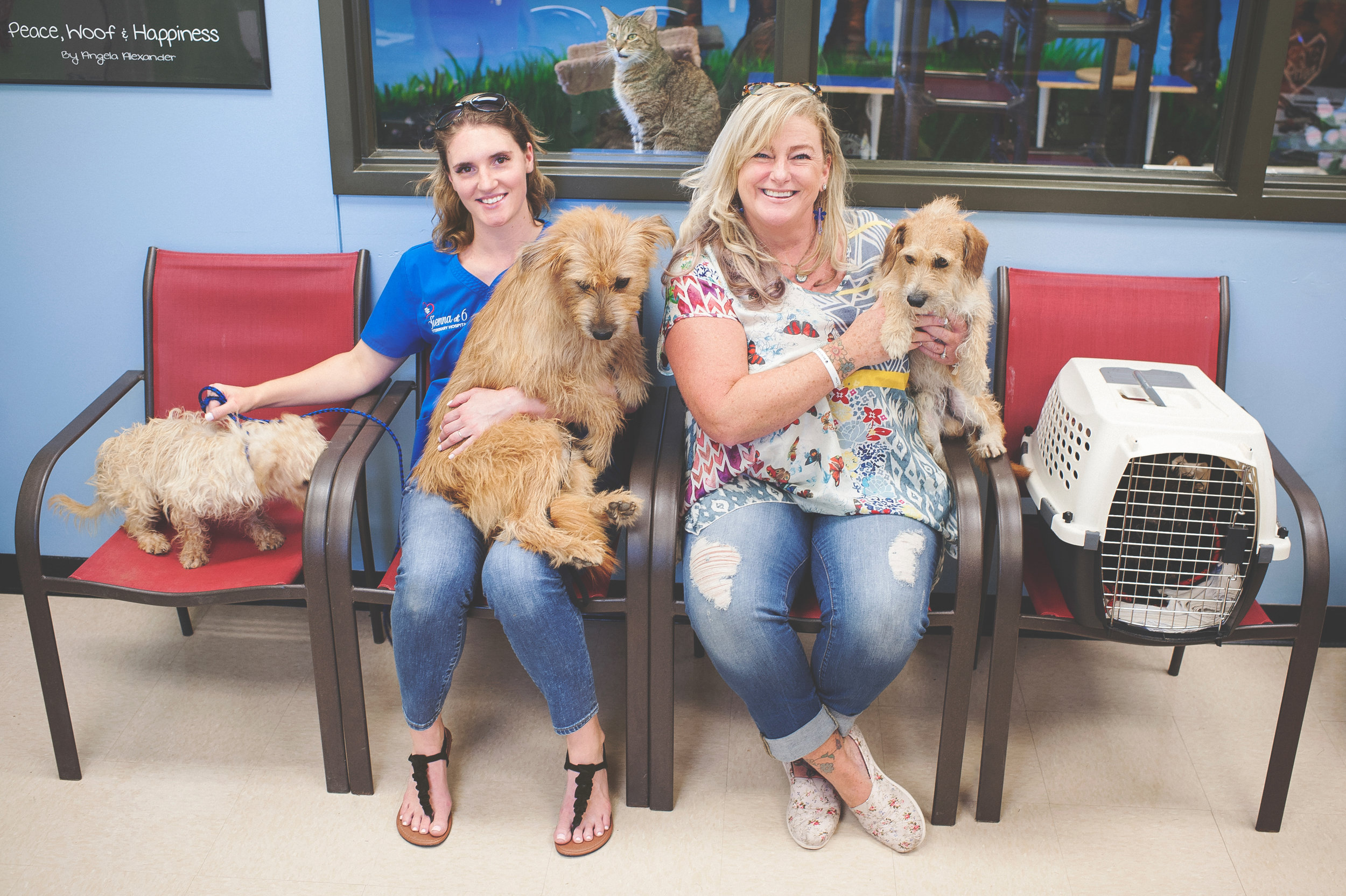 Melissa (left) and Darci (right) showed up to Ft. Bend County Animal Services to pull two specific dogs, but when they arrived the dogs had already been claimed. So they did what they do best... and left with four.