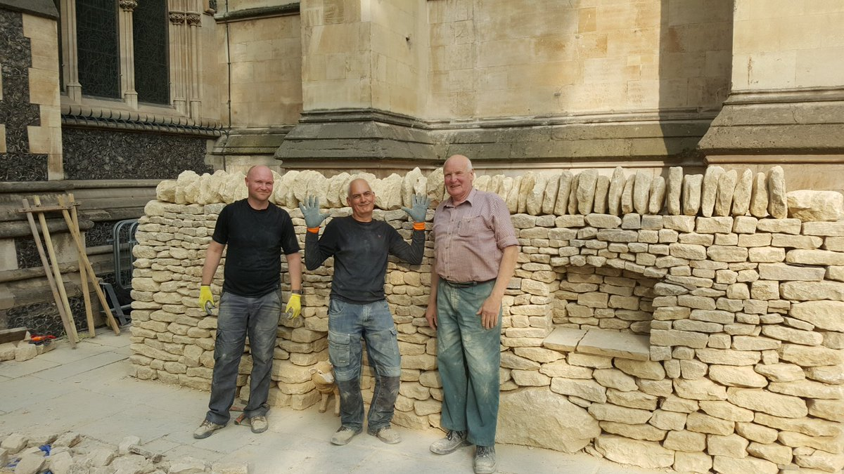 The finished wall. (l-r Matthew, (Mary), Jed, John) Pic from  @Southwarkcathed