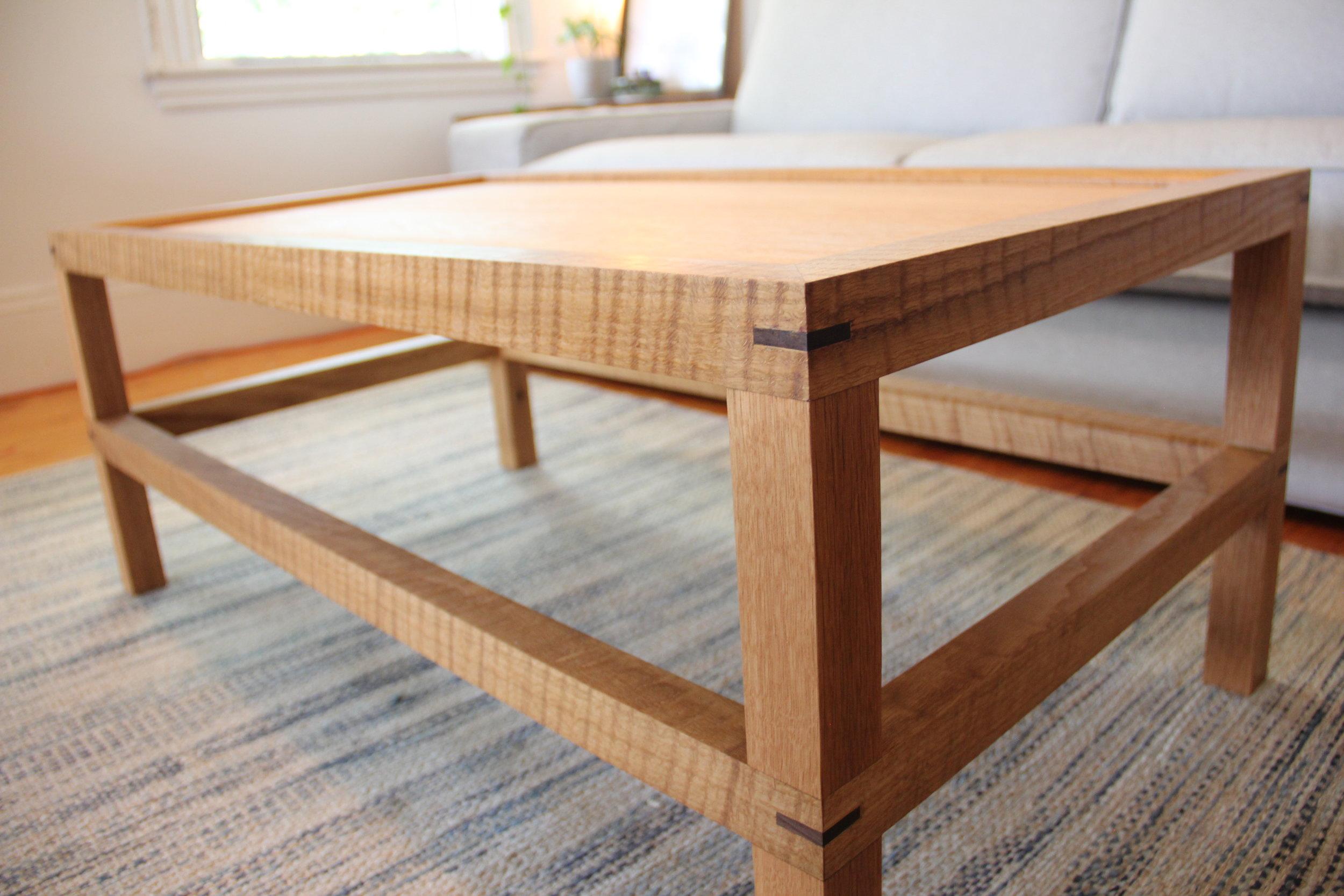 Coffee Table detail of walnut keys