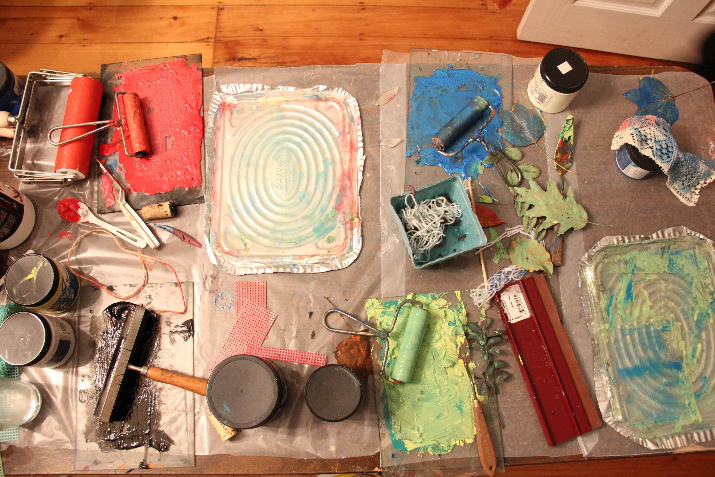 Printmaking for Sanity workshop