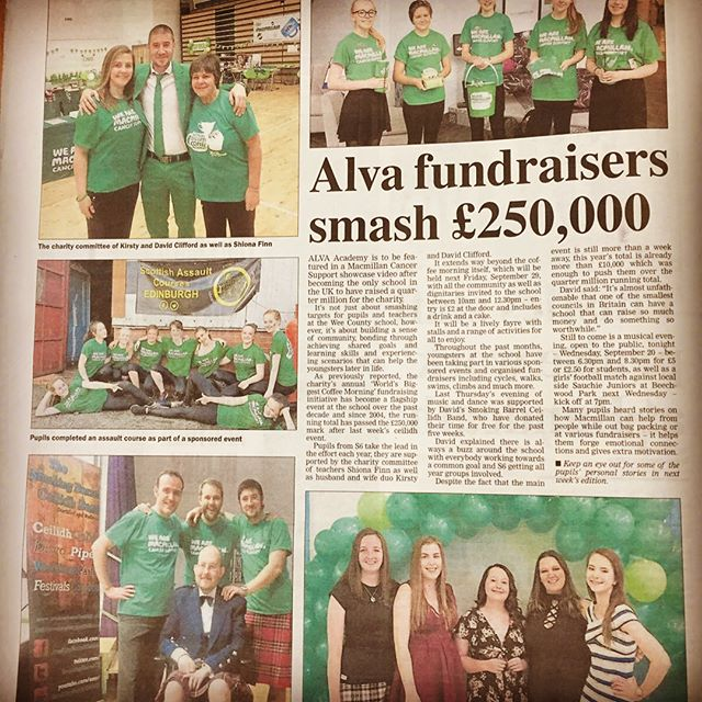 We've been honoured to play our part in this wonderful story over the years. Congratulations to Alva Academy and our very own Mr Clifford on raising over £250,000 for Macmillan Cancer Support #macmillan #ceilidhband