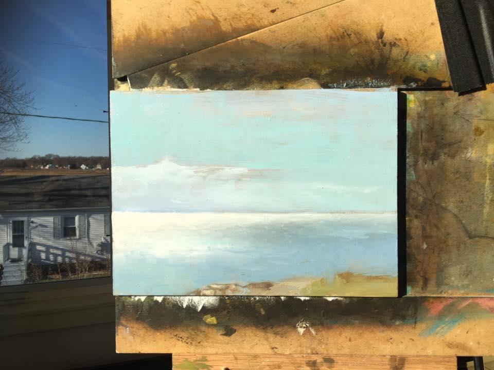 Oil sketch of Chesapeake Bay. 6 x 8 in. 3/8/2017