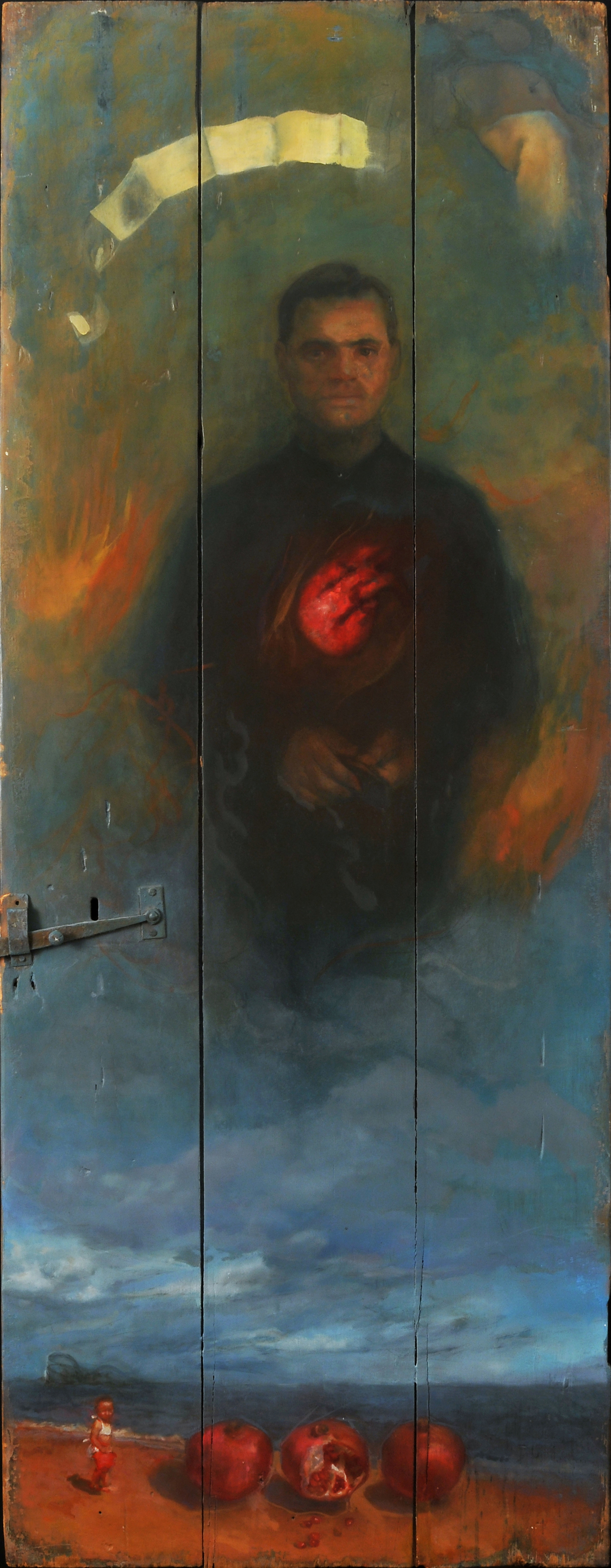 Aparecido, 62 x 27. in Oil and gold leaf on found object