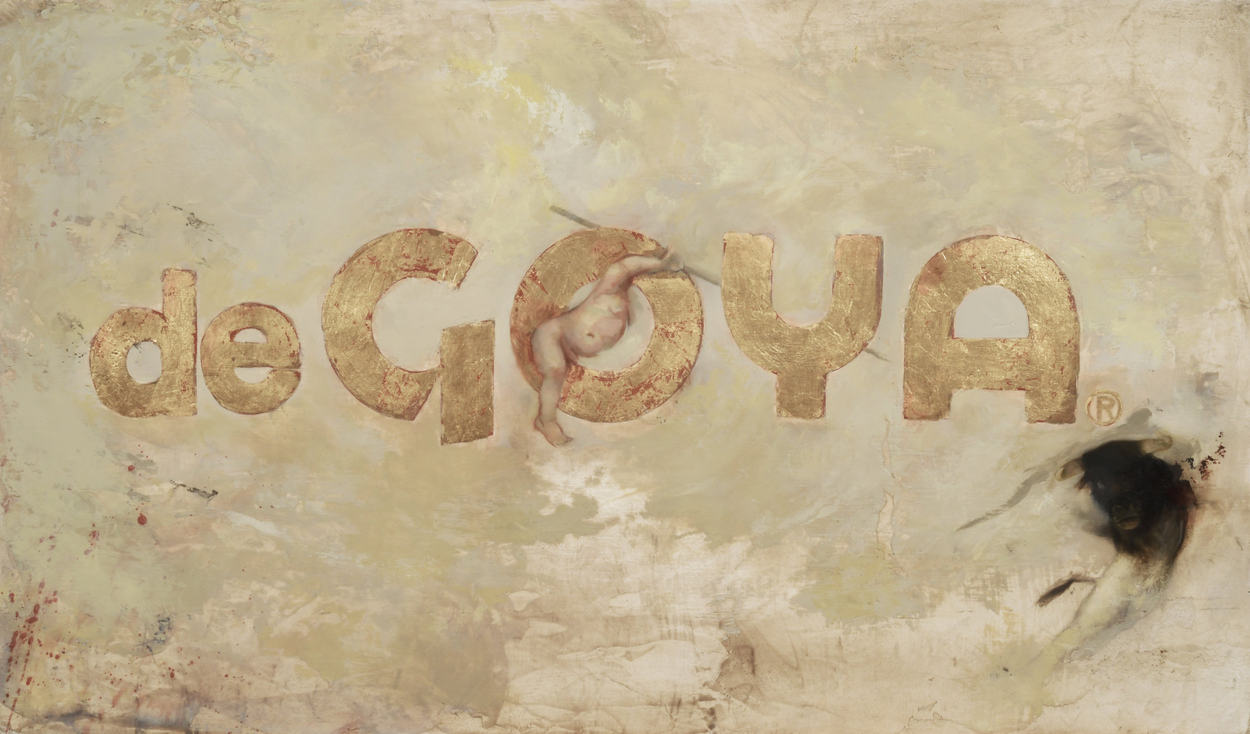 de Goya 24.5 x 14.5 in. Oil and gold leaf on board.