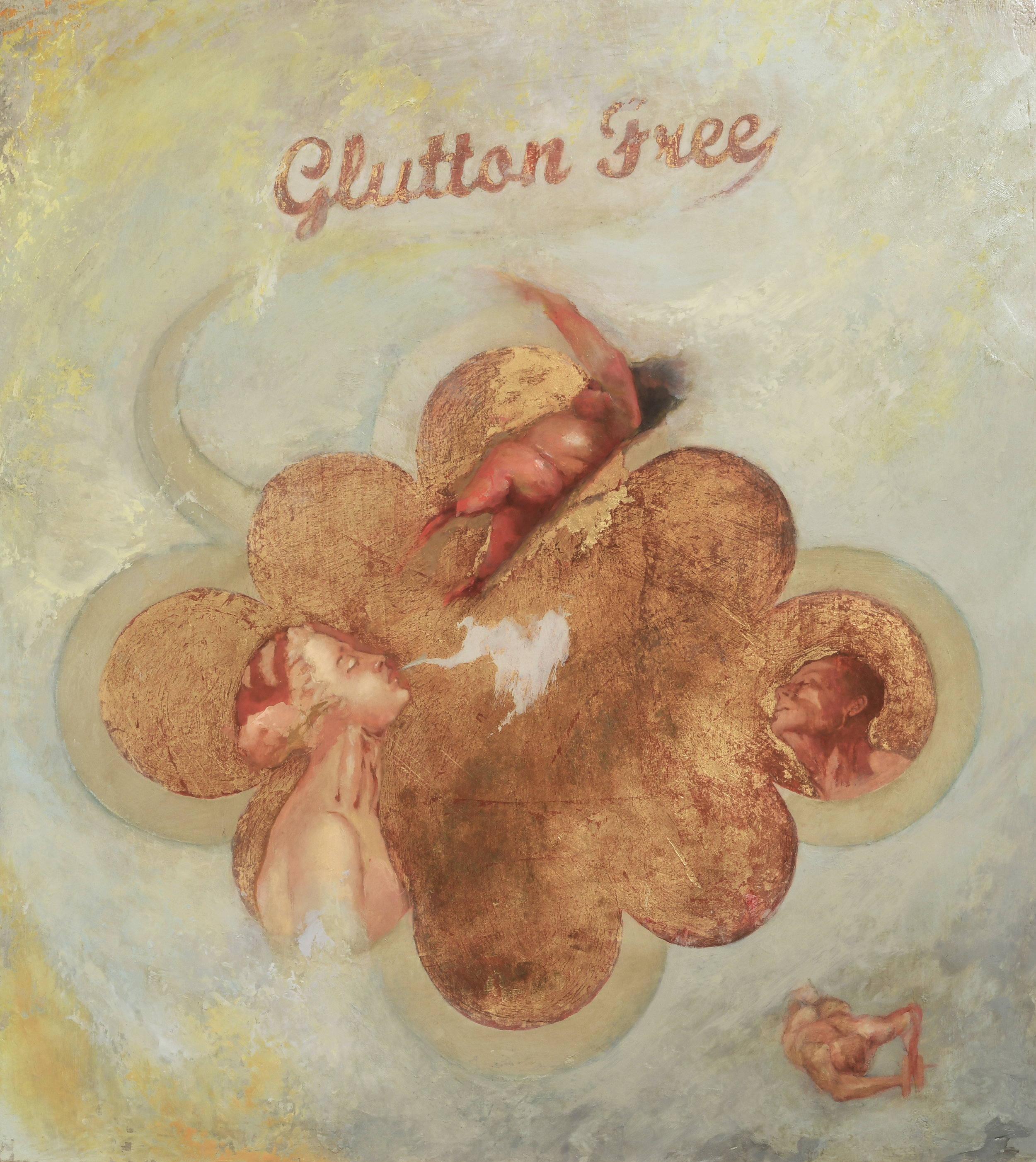 Glutton Free 18 x 20 in.Oil and gold leaf on board.