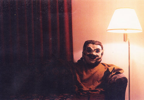 Mr. Paper Maché pictured here in a hotel room while I was on a bus and truck tour. I'd found him in an antique shop.