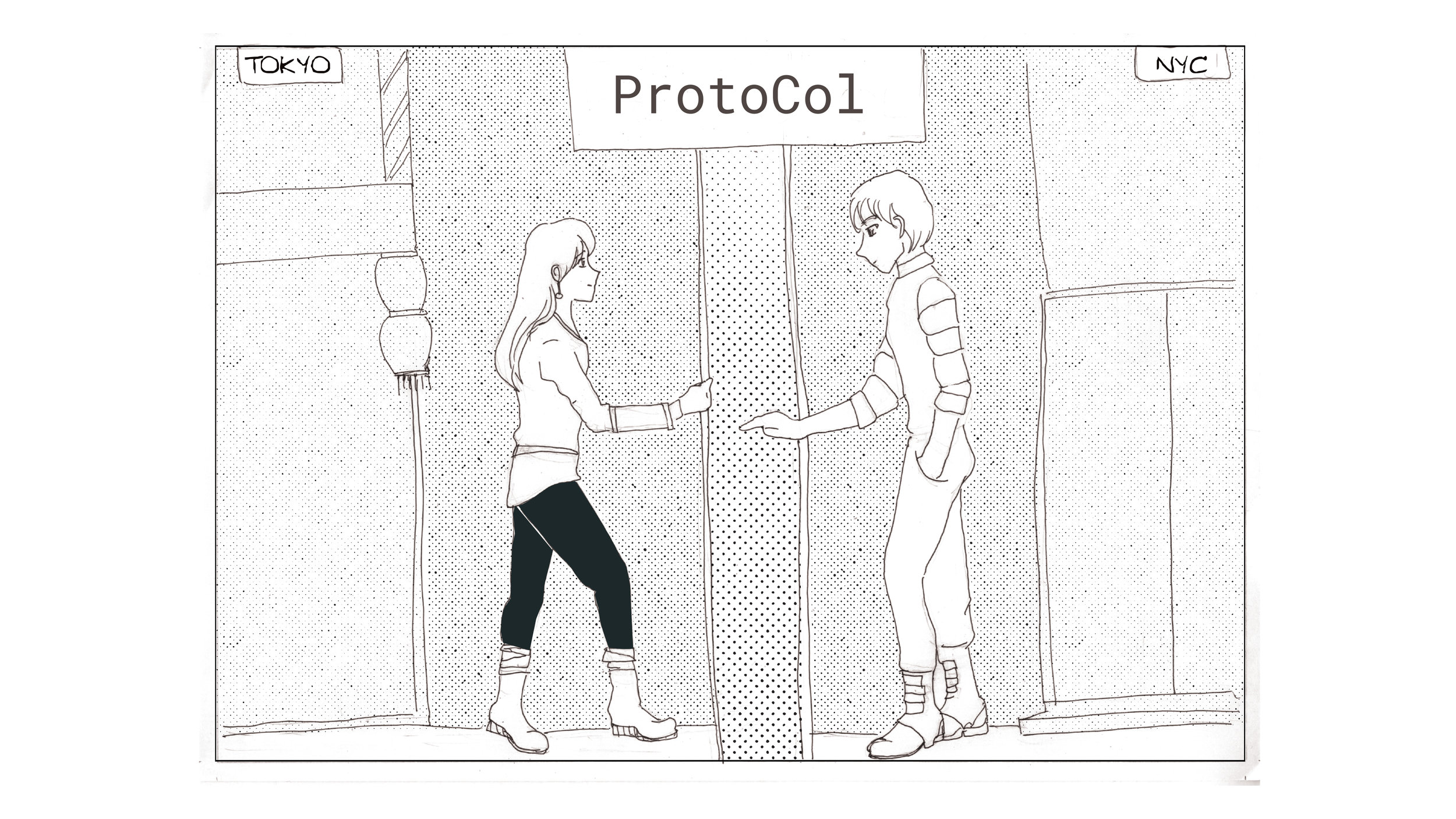 We see them both entering the ProtoCol workspace, which we imagine as an international collaboration hub a bit like a Google Fiber Space or WeWork, which already have offices all over the world.