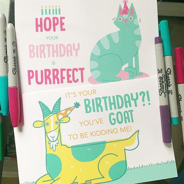 Send your friends some birthday cheer! And what birthday isn't made better with puns? . #card #illustration #birthday #greetingcard #surfacedesign #design #digitalart #photoshop #cat #goat #puns #illustrator #artist #artistsoninstagram #print #design #graphicdesign #art #create #birthdays #animals