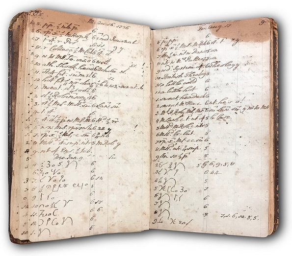 John Wesley's diary from his time in Georgia; note the shorthand he uses to make his entries briefer.