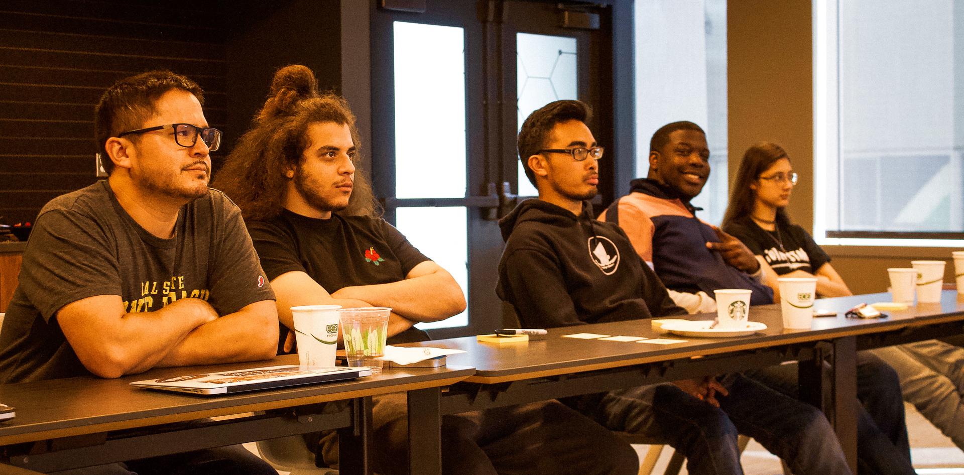"""L-R: Deputy Director Paul Laughlin, Amr """"ZAG"""" Awwad, Teaching Artist and Program Coordinator Matt Sablan, Zoser Dunbar (cheesing), Mirabai Kukathas"""