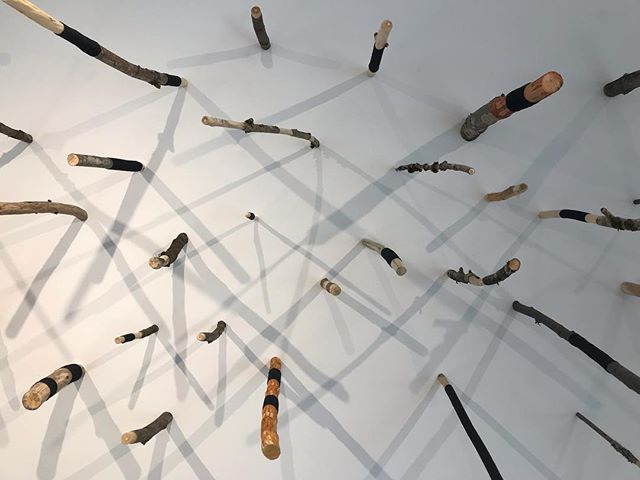 Locally made art from faraway artists..... @theougallery with @isobelrayson . . . . #artisimportant #local #firstimpresssions #sticks #branches #pnw #mossywoods #lichenlover #sundaymusings #happyeaster #vanisle #australia #aussieart