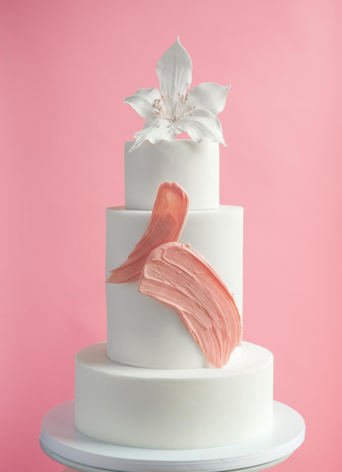 Painterly Brush Stroke Wedding Cake