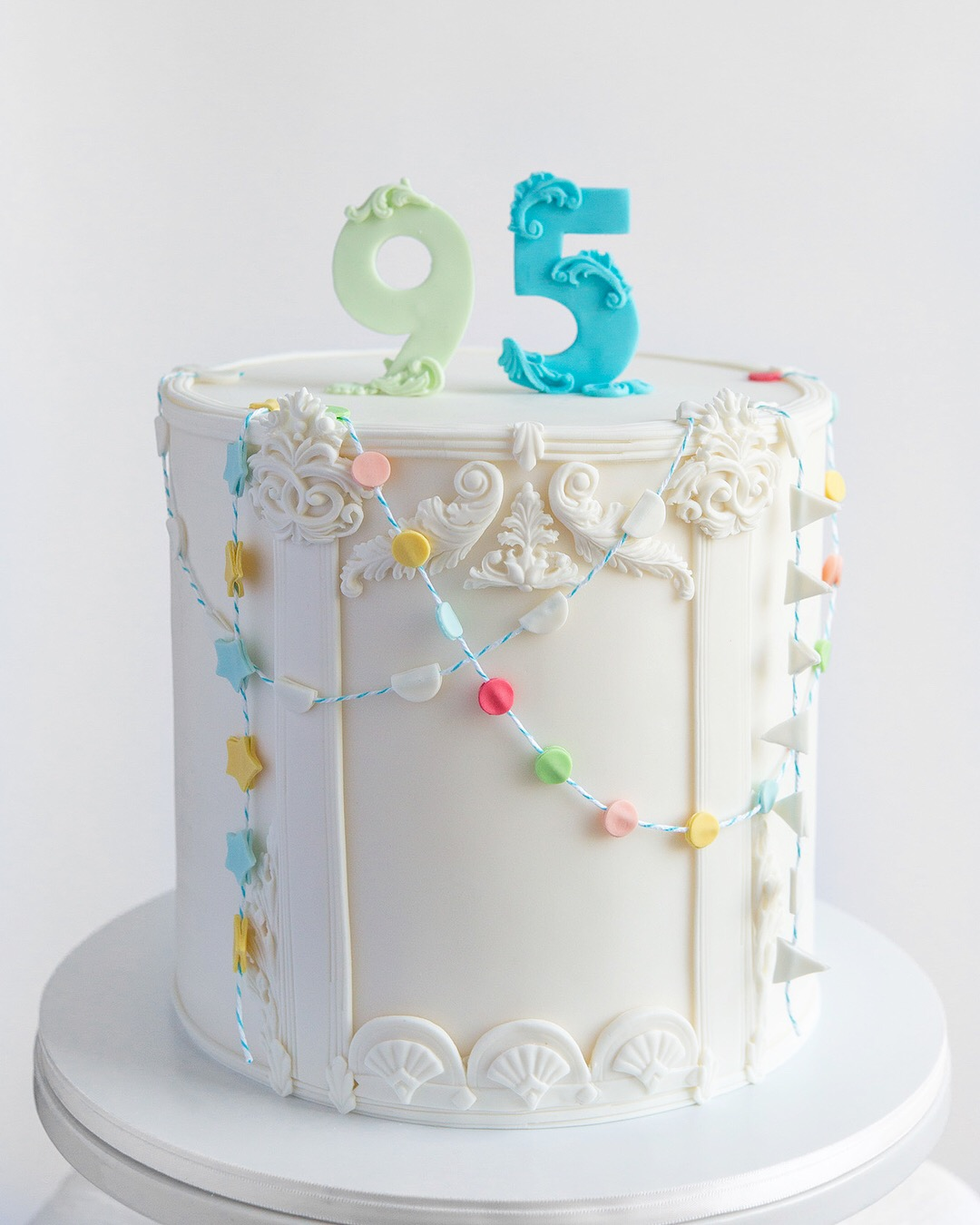 Architectural Detail Bunting Birthday Party Cake