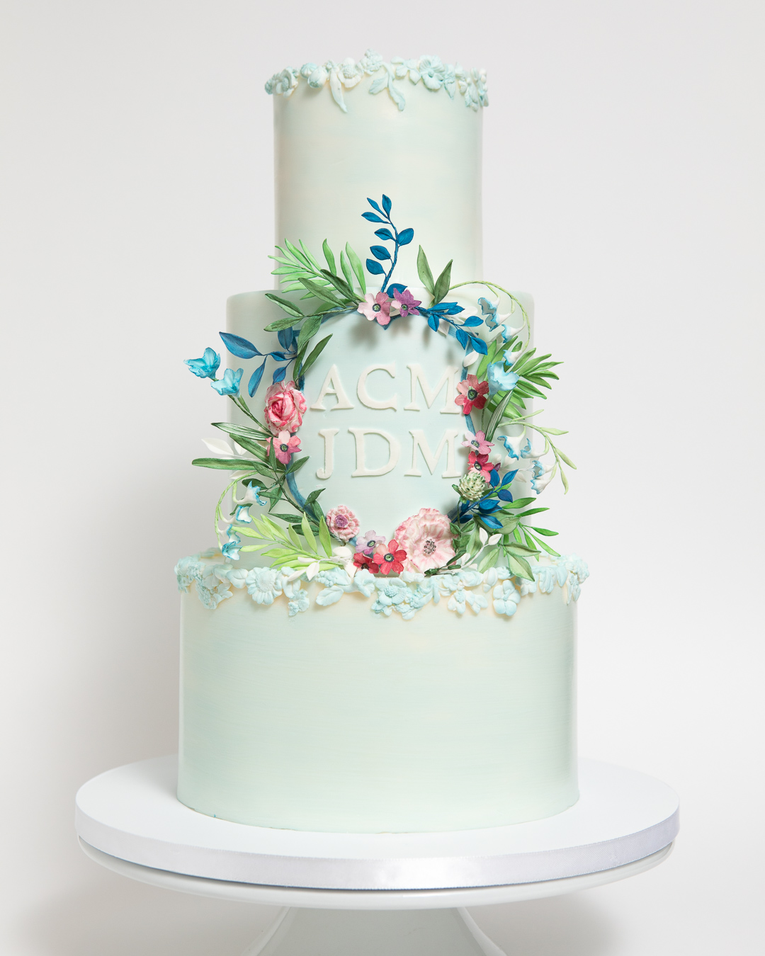 Monogram Shield Wedding Cake with Watercolor Sugar Flowers, Photo by Samuel Sachs Morgan